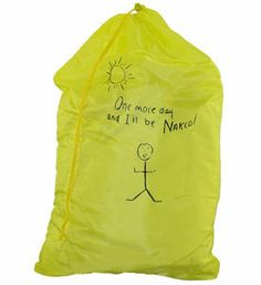 Add some levity to your laundry chores by transporting clothing in this Inscription Nylon Laundry Bag.  This playful laundry accessory will help contain a growing pile of dirty clothes and makes for easy toting to and from the laundry mat or laundry room.  This drawstring laundry bag ships in assorted colors including