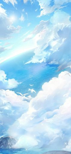 Image in Hell Event Sea and Sky album Blue Sky Wallpaper, Anime Scenery Wallpaper, K Wallpaper, Aesthetic Pastel Wallpaper, Landscape Wallpaper, Kawaii Wallpaper, Aesthetic Backgrounds, Galaxy Wallpaper, Aesthetic Wallpapers