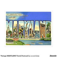 Vintage MARYLAND Travel Postcard