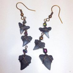 Charleston Shark Tooth Earrings  Antique Brass and by JBellsGems, $23.00