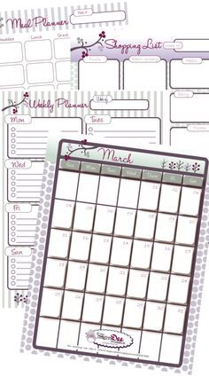 March Printable Planners - Calendar, Meal Planner, Shopping List & To Do List - Tip Junkie Creative Community