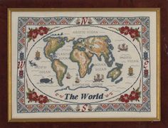 Antique Map of the World £10.00  Still my favourite design and continues to be a best seller! My husband, Bill charted the map for me, based on an antique paper map complete with sea monsters! The design is worked in pure cross stitch with a few fractional stitches around the coastline. You can work this on linen or Aida fabric.