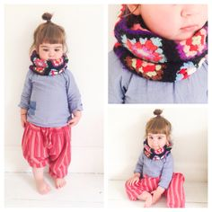 Stylish and contemporary children's clothing. Toddler crochet granny square infinity scarf, available from www.facebook.com/frankandolivecrochet