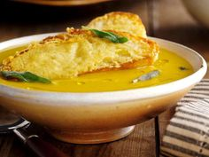 Superb Squash Soup with the Best Parmesan Croutons : Recipes : Cooking Channel-Jamie Oliver Crouton Recipes, Soup Recipes, Party Recipes, Turkey Recipes, Potato Recipes, Cooker Recipes, Yummy Recipes, Dinner Recipes, Diet
