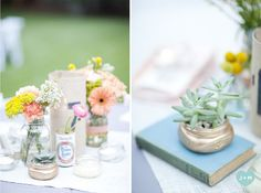 the centerpieces: handmade table napkins, beautiful flowers, vintage beer cans and books, burlap runners, mason jars and succulents {decor by Gray Harper Event Maker, Image by Jade + Matthew Take Pictures}