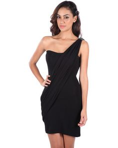 Opt for a glamorous look with this elegant Paula Diamante Dress by Linx. Thissophisticated design features diamante trimming on the shoulder and a feminine,sash-like draping across the body. Black in colour, it boasts a one-shoulder finish,tight-fitting shape that shows off your silhouette and a short hemline. Idealfor a special occasion, pair it with strappy heels for a complete ensemble.
