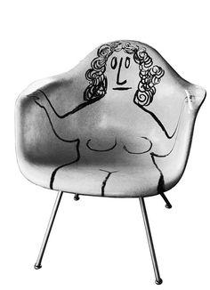 Saul Steinberg illustrated chair