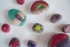 What fun. Pick up rocks, paint on them and then go hide them around the park to brighten someone else's day.