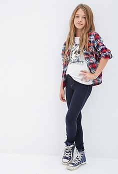 GIRLS | Forever 21 | Flannel, Skinny Jeans and Converse