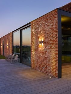 Bricks, glass and wo