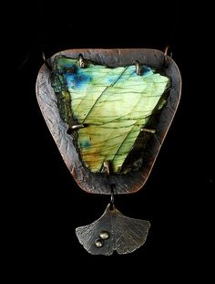 Jewelry by Anna Labradorite Ginkgo Leaf Copper by Oregon4ever