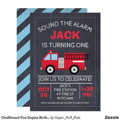 Chalkboard Fire Engine Birthday Invitation - birthday diy gift present custom ideas Birthday Party Invitations, Birthday Party Themes, Boy Birthday, Birthday Cards, Birthday Gifts, Birthday Supplies, Personalized Note Cards, Fire Engine, Custom Invitations
