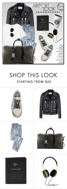 """""""Airport Look"""" by monmondefou ❤ liked on Polyvore featuring Passport, Acne Studios, Wrap, Yves Saint Laurent, FOSSIL, Frends, 3.1 Phillip Lim, white, black and airportlook"""