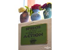 Speech is the mirror of action Ancient Greek Quotes, Wooden Signs With Sayings, Positivity, Hand Painted, Day, Action, Change, Mirror, Group Action