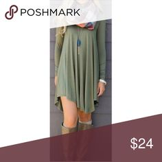 ❗️CLEARANCE❗️ Olive Loose Fit Tunic Dress S M L Boho olive loose fit tunic dress, long sleeves, 95% Rayon 5% Spandex.  Available is size small, medium, or large.  No Trades, Price Firm unless Bundled.  BUNDLE 3 OR MORE ITEMS FOR 15 % OFF. Boutique Dresses Mini