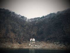 Abandoned shed in Lake Paroho, South Korea. ...