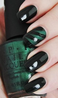 Emerald & Black Nails - Hairstyles and Beauty Tips