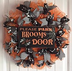 This Halloween mesh wreath will let your friends know exactly what to do when entering your home. :) Cute orange and black chevron sign that