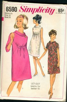 "Simplicity 6590 ©1966 Maternity Dress with ""let-out side seams"""