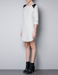 VELOUR DRESS WITH SHOULDER PATCHES - Dresses - TRF - ZARA United States