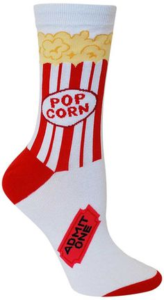 Crew length socks that look like a bag of popcorn from the movies - even a ticket on the foot. Fits women's shoe size 4-10.