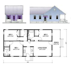 This expanded plan includes a 3-bedroom, 2-bathroom house with a family room.