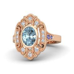 Oval Aquamarine 14K Rose Gold Ring with Diamond and Tanzanite | Arya Ring | Gemvara