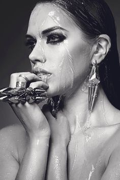 wet beauty and statement jewels