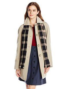 London Fog Women's Single Breasted Wool Coat with Scarf in Khaki - http://www.womansindex.com/london-fog-womens-single-breasted-wool-coat-with-scarf-in-khaki/