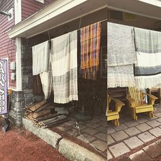 Taking advantage of springlike weather to dry of newly woven yardage Hand Weaving, Weather, Hand Knitting, Weather Crafts