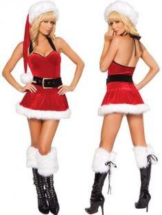 Christmas ( red halter dress sexy strip care )