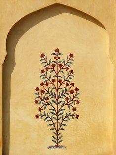 Tree-of-Life painting, Amber Fort, Jaipur, Rajasthan, India. © 2014 a kiwindian couple. Traditional Paintings, Traditional Art, Pattern Art, India Pattern, Interiores Art Deco, Mughal Paintings, Fresco, Indian Folk Art, Indian Prints