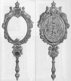 """Carved pear wood hand mirror, by Allard and Chopin in 1867 for the World's Fair. The Art Journal published a picture of this mirror and spoke of Allard and Sons as one of the most """"Eminent cabinet houses of Paris"""".  #julesallard"""
