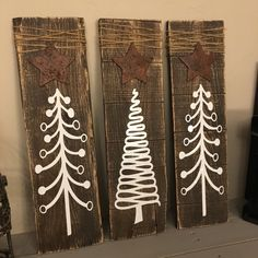 Set of 3 Rustic Christmas Tree Signs