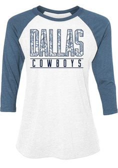 62330803f Dallas Cowboys Womens Tuesday Floral White Scoop Neck Tee Dallas Cowboys  Hats