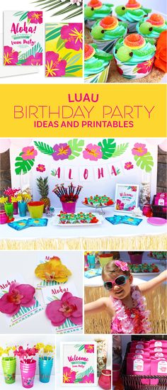 Amazing Luau party ideas and free printable designs to help you plan a perfect tropical soiree this summer. Invitations, decorations, cupcakes and more!