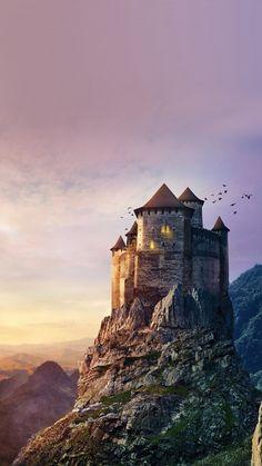 Castle Mountain Illustration Art Sky #iPhone #6 #plus #wallpaper
