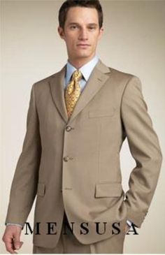 High quality 3 button wool suits for men in tan color.