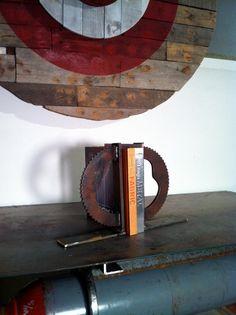 Gear Bookends industrial bookshelf dorm decor industrial chic steampunk handmade metal book ends loft wedding present gift