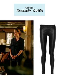 "On the blog: Kate Beckett's (Stana Katic) black leather leggings | Castle - ""The Way of the Ninja"" (Ep. 618) #tvstyle #tvfashion #outfits #fashion"