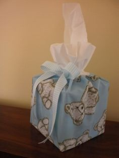 Teddies on blue cover for a boutique size tissue box made by Sheila.