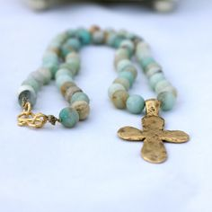 totes doing this. I have the amazonite. Amazonite HandKnotted Necklace with Hammered by LaliJewelryShop