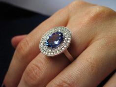 ★QueenBB★ Elegant Huge Simulated Blue Sapphire Cubic Zirconia Silver Ring Wedding Engagement Birthstone Ring