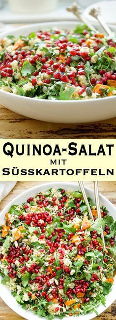 Ein einfaches Rezept für einen Salat mit Süßkartoffeln mit Quinoa und Rucola. Dazu kommen noch geröstete Nüsse und Koriander in einem leckeren Honig-Limetten-Dressing. Der gesunde Salat schmeckt nicht nur Vegetariern gut. Einfache Gesunde Rezepte - Elle Republic