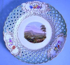 Image detail for -MEISSEN RETICULATED VINTAGE PLATE WITH PICTURE DURCHBRUCHSTELLER ...