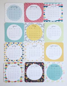 inspiration to create my own… like the size, rounded corners, circle in middle, font/numbers, etc.  2014 Calendar Wall or Desktop Calendar 12 Month by PrintSmitten