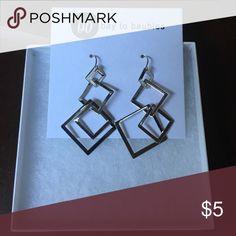 Silver Earrings Silver, geometric design dangle earrings, bay to baubles brand, NWT Bay to Baubles  Jewelry Earrings