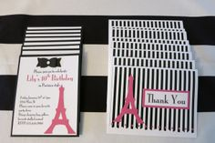 handmade invites and thank you cards #parisparty