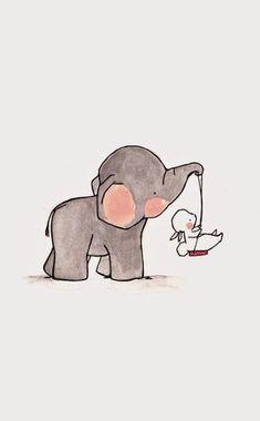 ★★ωнєη ι ℓσσк ιηтσ уσυя єуєѕ ιтѕ ℓιкє ωαт¢нιηg тнє ηιgнт ѕку ву: ➴❁єυηι¢σяη ❁➶↠ {eunicebao} ☽ Cute Animal Drawings, Cartoon Drawings, Easy Drawings, Elephant Nursery Art, Bunny Nursery, Girl Nursery, Cartoon Elephant, Cute Elephant, Cartoon Rabbit