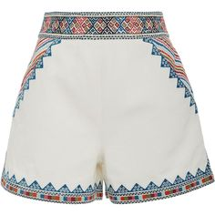 Talitha     Zoya Embroidered Shorts (1.515 BRL) ❤ liked on Polyvore featuring shorts, white, embroidered shorts, mini shorts and talitha